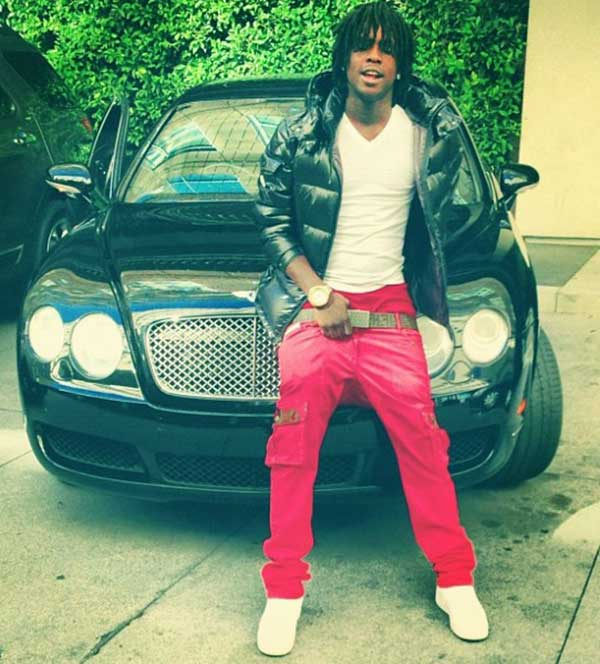 Image of Rapper, Chief Keef with his car Bentley Roadster