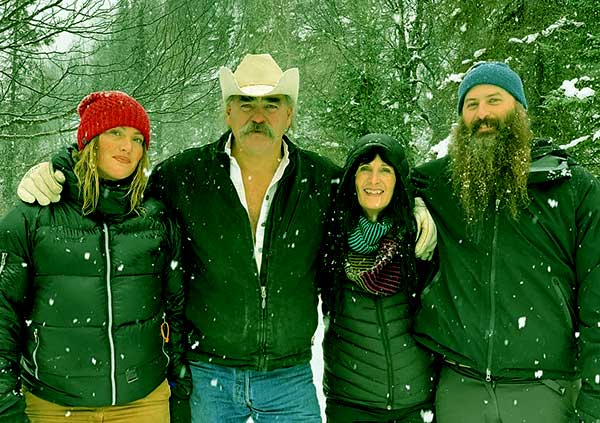 Image of Caption: Misty Raney with her father Marty, mother Mollee and brother Matt Raney